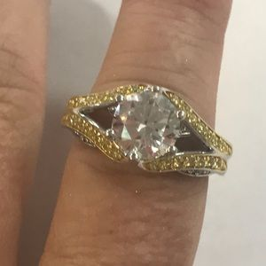 Jewelry - Cubic Zirconia Ring Sterling Canary Cocktail Ring
